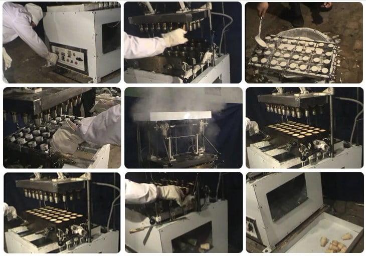 semi-automatic wafer ice cream cone maker operation process