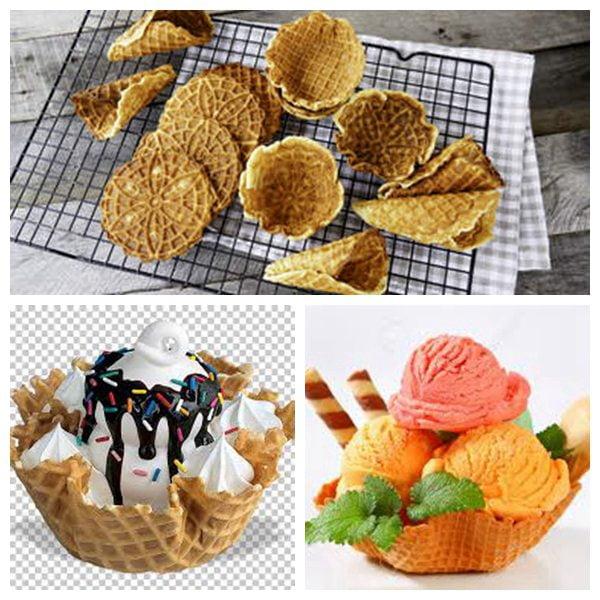 delicious ice cream waffle basket