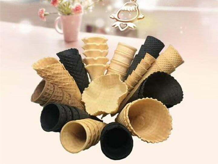 various ice cream cones made by ice cream cone machine
