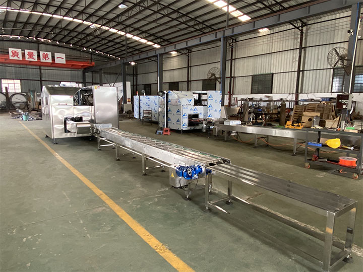 whole set of automatic waffle cone making machines in factory